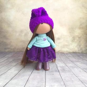Інтер'єрна лялька Гномик у фіолетовому капелюсі
