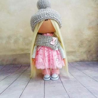 Інтер'єрна лялька рожево-сіра