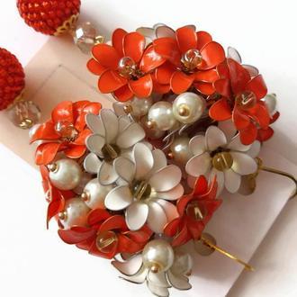 Яркие серьги с оранжевыми и белыми цветами в технике Эмаль (ручная работа) Lilei Jewelry