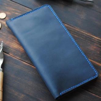Кожаный клатч с отделами для карт и мелочи