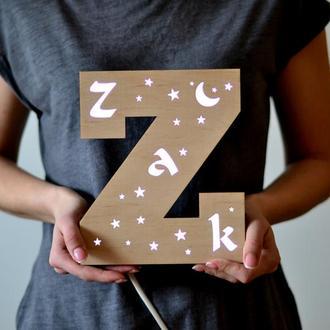 Ночник-буква для детей с именем - Zak
