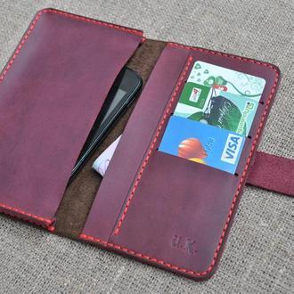 Необычный чехол-книжка для мобильного телефона из натуральной кожи H01-450+800+red