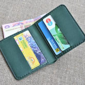 Небольшой зеленый кошелек из натуральной кожи K61-350+black