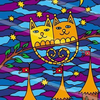 Раскраска для детей и взрослых. Позитивные котики под луной. Авторская картина. Цифровой файл jpg