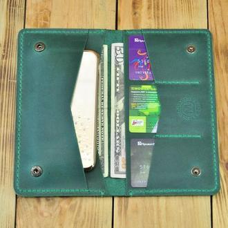 Зеленый кожаный кошелек для телефона, денег, кредиток, документов