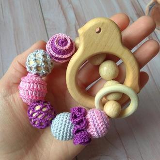 Деревянный прорезыватель, грызунок игрушка новорожденному малышу ручная работа подарок