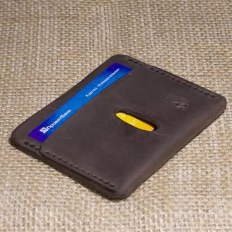 Шкіряний гаманець-картхолдер Дощ HOMUL, коричневий