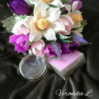 """Цветочная композиция с конфетами в конусе , конфетный букет №04 """"Весеннее настроение"""""""