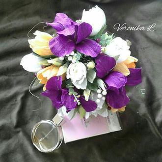 """Квіткова композиція  з цукерками в конусі, конфетный букет  №05 """"Весняні барви"""""""
