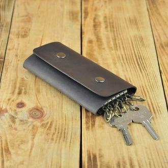Большая кожаная ключница для 6 ключей темно коричневого цвета
