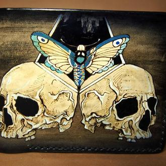 Коричневый бумажник, коричневое портмоне, бумажник с черепом