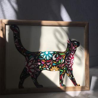Кошка. Катрина на стекле. Витражная роспись.