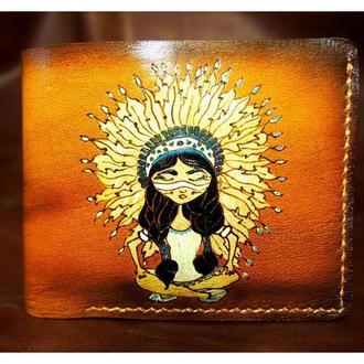 Кожаный кошелек девушка индеец
