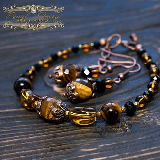 Комплект натуральний камінь тигряче око браслет сережки