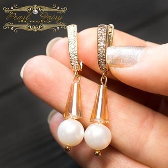 Сережки з натуральними білими перлами у позолоті