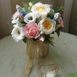 """Квіткова композиція  з цукерками в коробці, конфетный букет  №222 """"Юній леді 2"""""""