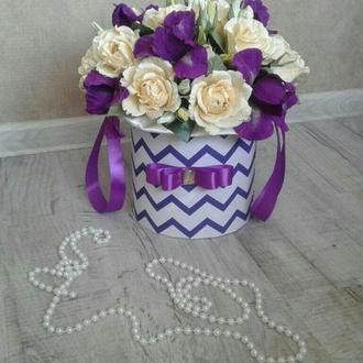 """Квіткова композиція  з цукерками в коробці, конфетный букет  №223 """"Парижська весна"""""""