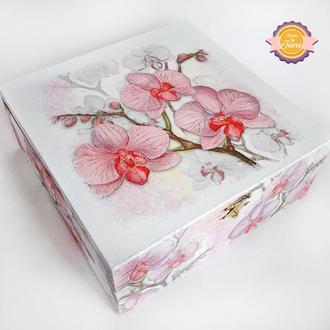 Короб для чайных пакетиков/Органайзер Нежные орхидеи