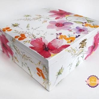 Короб для чайных пакетиков/Органайзер Акварельные цветы
