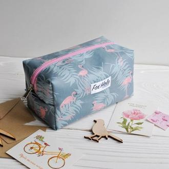 """Косметичка """"фламинго"""" из ламинированного хлопка (большая)"""