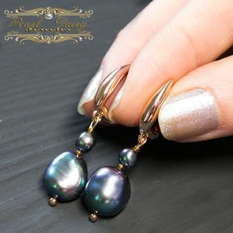 Сережки з натуральними чорними перлами Кейши у позолоті