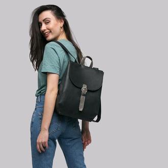 """Черный кожаный рюкзак на подкладке, с органайзером и отделение для 13"""" ноутбука"""