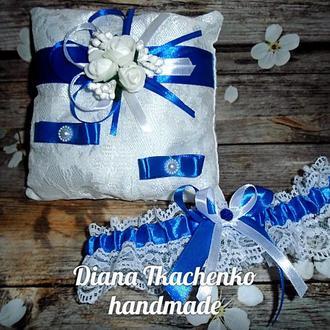 Свадебный набор подушечка+подвязка