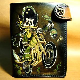 Кожаное портмоне, портмоне для документов, кожаный кошелек мексиканец