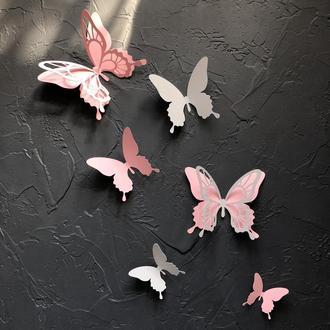 25 шт., Набор Сильвия, Объемные 3д бабочки из картона на стену