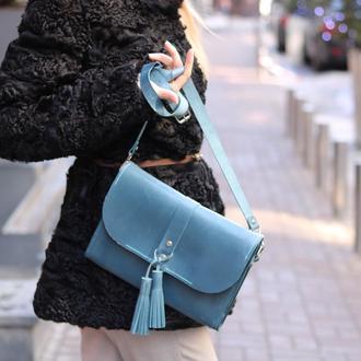 Женска голубая сумочка/клатч