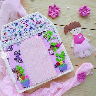 Кукольный домик - развивающая книжка для девочек, кукла из фетра с набором одежды