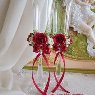 """Свадебные бокалы  """"Королевское торжество""""."""