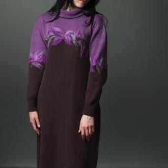 Вязаное платье с элементами валяния
