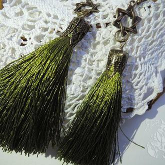 Оливковые серьги-кисточки со Звездой Давида