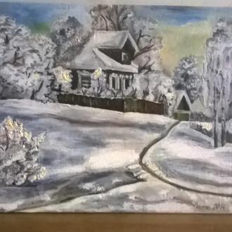 """авторская картина""""Зима в моей деревне"""""""