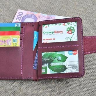 Кожаный вертикальный кошелек из натуральной кожи D06-800