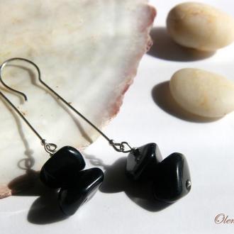"""""""BalancedStones""""  длинные серебряные серьги с агатом, минималистичные серебряные серьги"""