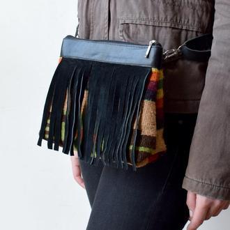 Текстильна сумочка зі шкіряними деталями