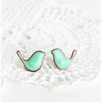 Мятные птички Серьги - гвоздики (серёжки, птицы, милый подарок, маленькие серьги гвоздики )