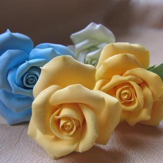 Цветы для волос. Заколки, шпильки для невест, выпускниц. Глина deco clay.
