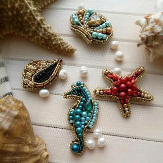 Сет, комплект из четырёх брошей в морском стиле, ракушки, морской конёк, морская звезда