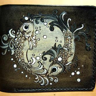 Кожаный кошелек Рыбки