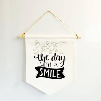 Настенный баннер декор для дома: Start The day with a smile