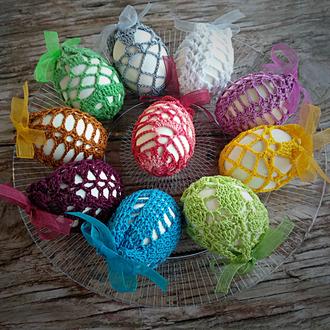 Вязаный декор на пасхальное яйцо