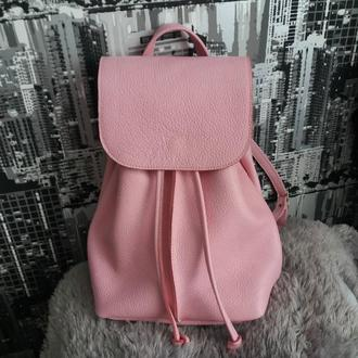 Рюкзак из натуральной кожи флотар. Цвет розовый