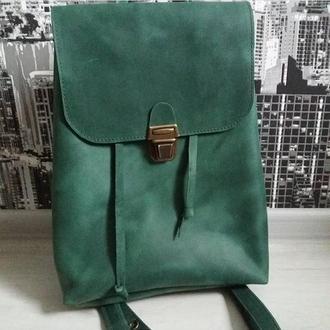 Рюкзак из натуральной кожи CrazyHorse. Цвет изумруд.