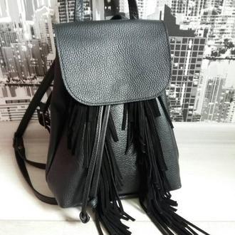 Рюкзак из натуральной кожи Флотар с бахромой. Цвет черный.