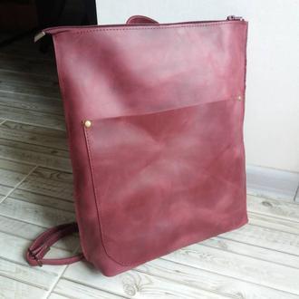 Сумка-рюкзак из натуральной кожи CrazyHorse. Цвет марасала.