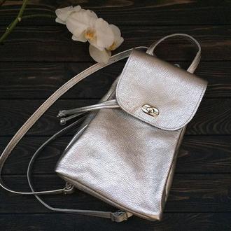 Рюкзак из натуральной кожи флотар. Цвет серебро