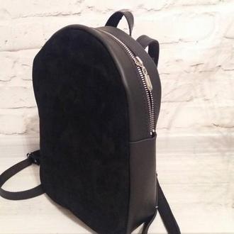 Рюкзак из натуральной кожи CrazyHorse + замш. Цвет черный